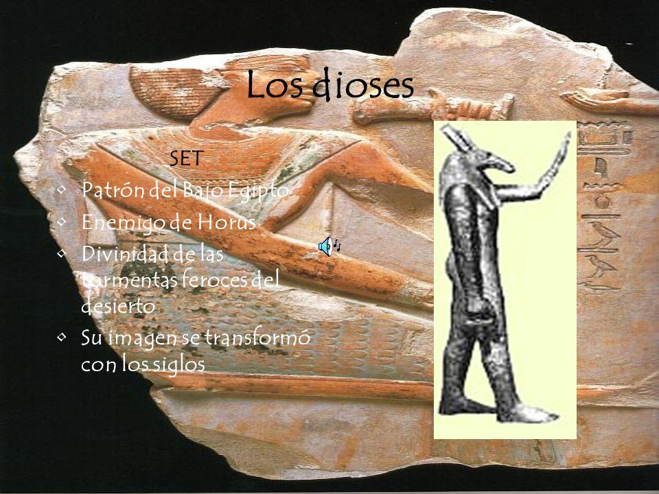 Los dioses SET Patrón del Bajo Egipto Enemigo de Horus Divinidad de las tormentas feroces del desierto Su imagen se transformó con los siglos