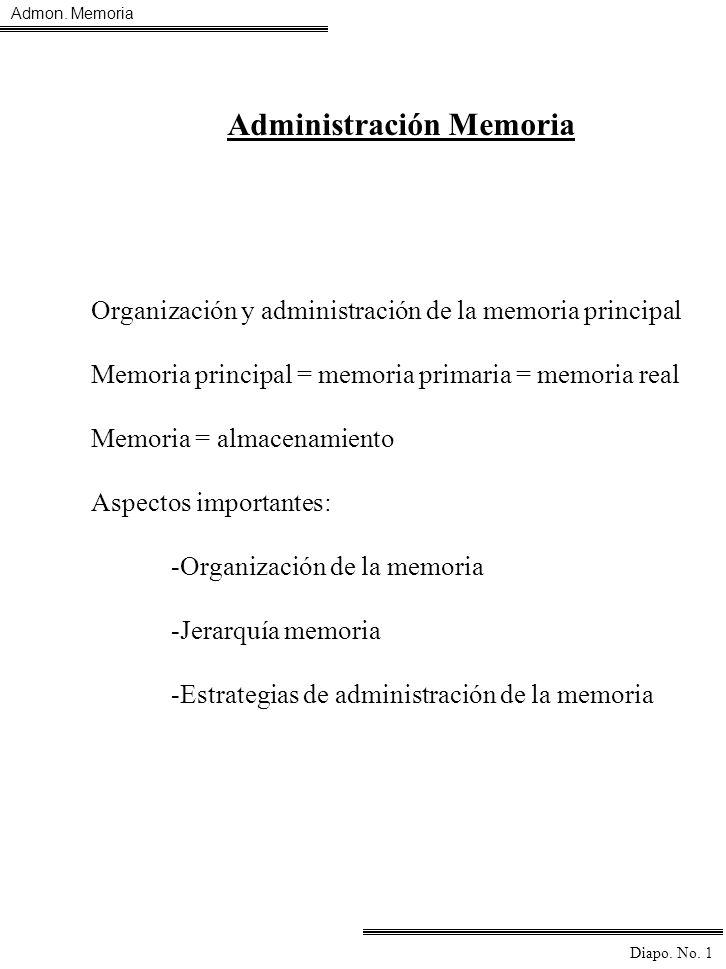 Admon. Memoria Diapo. No. 1 Administración Memoria Organización y administración de la memoria principal Memoria principal = memoria primaria = memori