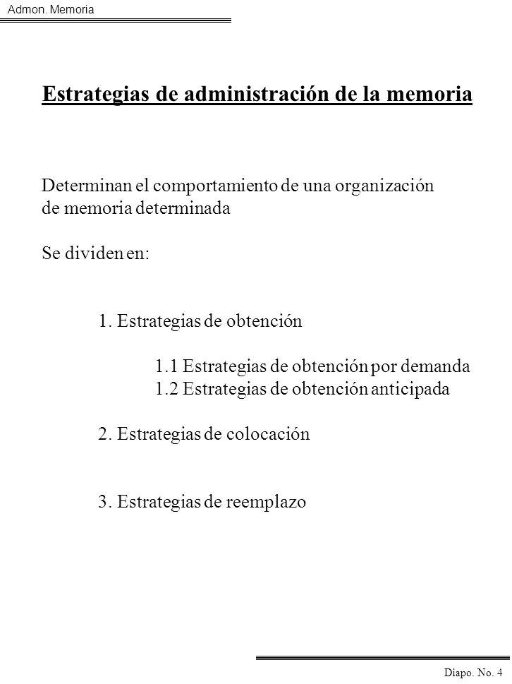 Admon. Memoria Diapo. No. 4 Estrategias de administración de la memoria Determinan el comportamiento de una organización de memoria determinada Se div