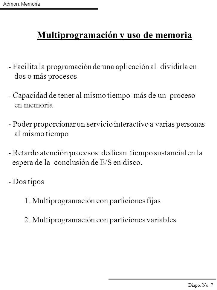 Admon. Memoria Diapo. No. 7 Multiprogramación y uso de memoria - Facilita la programación de una aplicación al dividirla en dos o más procesos - Capac