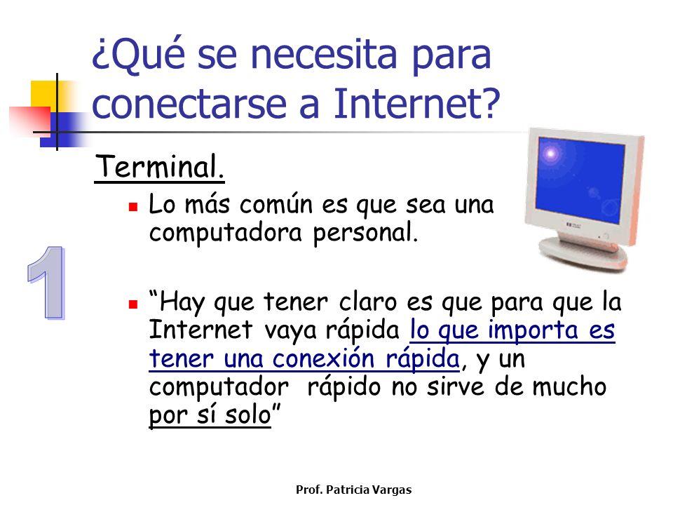Prof. Patricia Vargas ¿Qué se necesita para conectarse a Internet? Terminal. Lo más común es que sea una computadora personal. Hay que tener claro es