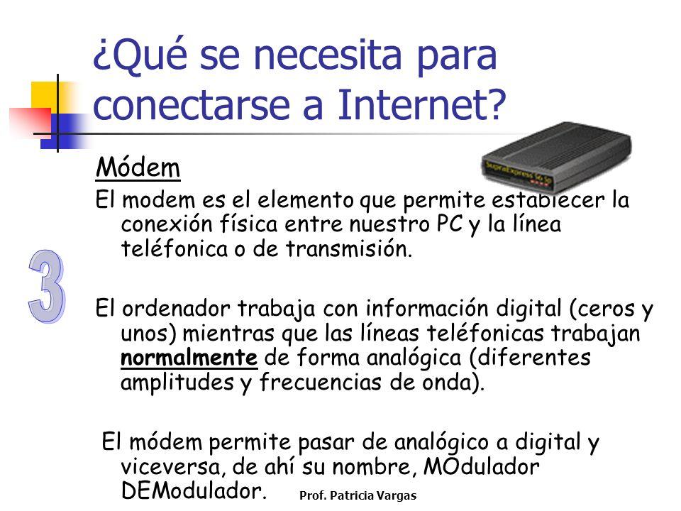 Prof. Patricia Vargas ¿Qué se necesita para conectarse a Internet? Módem El modem es el elemento que permite establecer la conexión física entre nuest