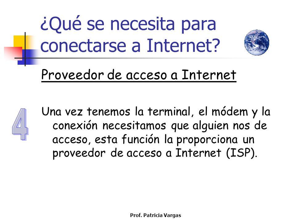 Prof. Patricia Vargas ¿Qué se necesita para conectarse a Internet? Proveedor de acceso a Internet Una vez tenemos la terminal, el módem y la conexión