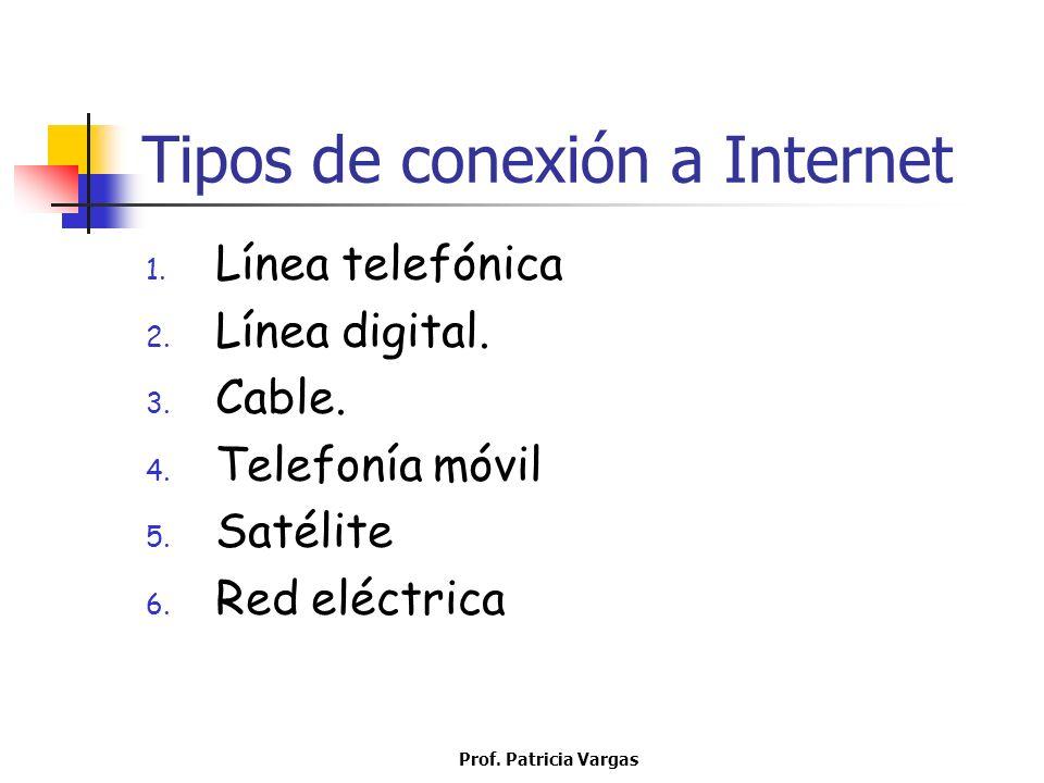 Prof. Patricia Vargas Tipos de conexión a Internet 1. Línea telefónica 2. Línea digital. 3. Cable. 4. Telefonía móvil 5. Satélite 6. Red eléctrica
