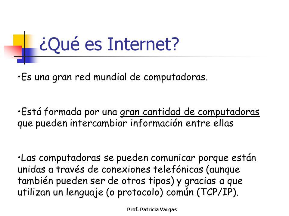 ¿Qué es Internet? Es una gran red mundial de computadoras. Está formada por una gran cantidad de computadoras que pueden intercambiar información entr