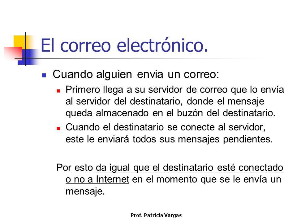Prof. Patricia Vargas El correo electrónico. Cuando alguien envia un correo: Primero llega a su servidor de correo que lo envía al servidor del destin