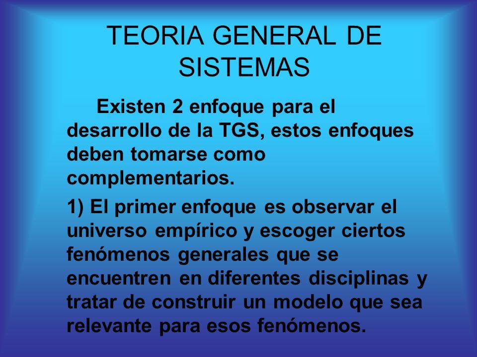 Existen 2 enfoque para el desarrollo de la TGS, estos enfoques deben tomarse como complementarios. 1) El primer enfoque es observar el universo empíri