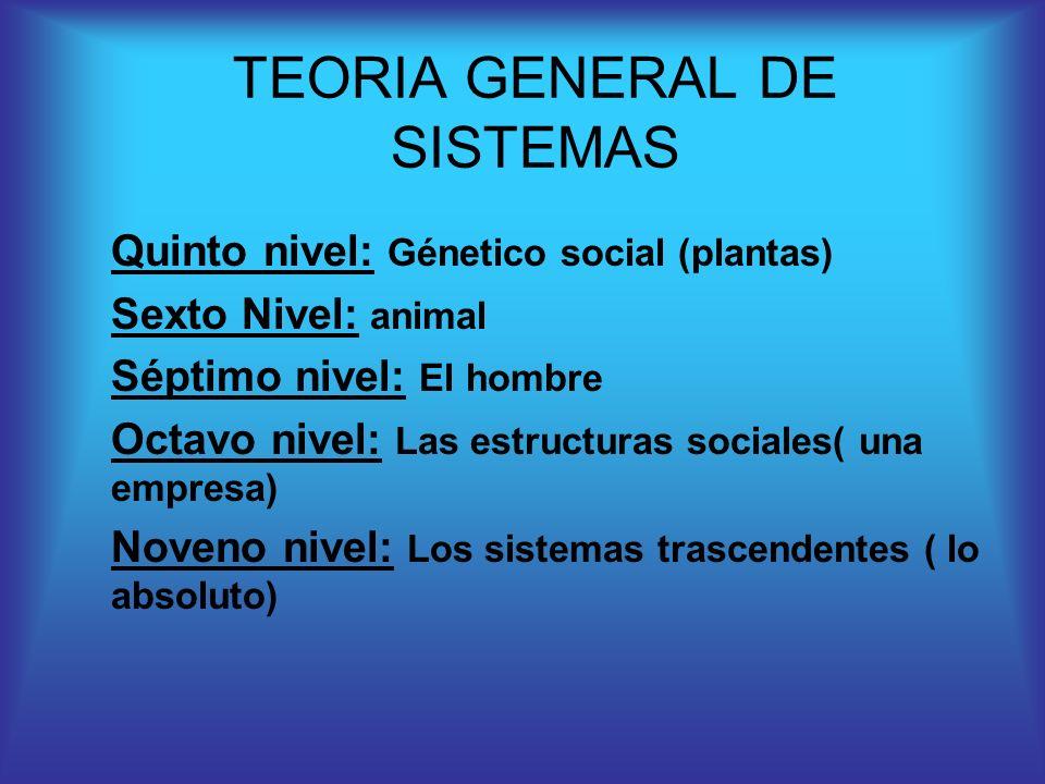 Quinto nivel: Génetico social (plantas) Sexto Nivel: animal Séptimo nivel: El hombre Octavo nivel: Las estructuras sociales( una empresa) Noveno nivel