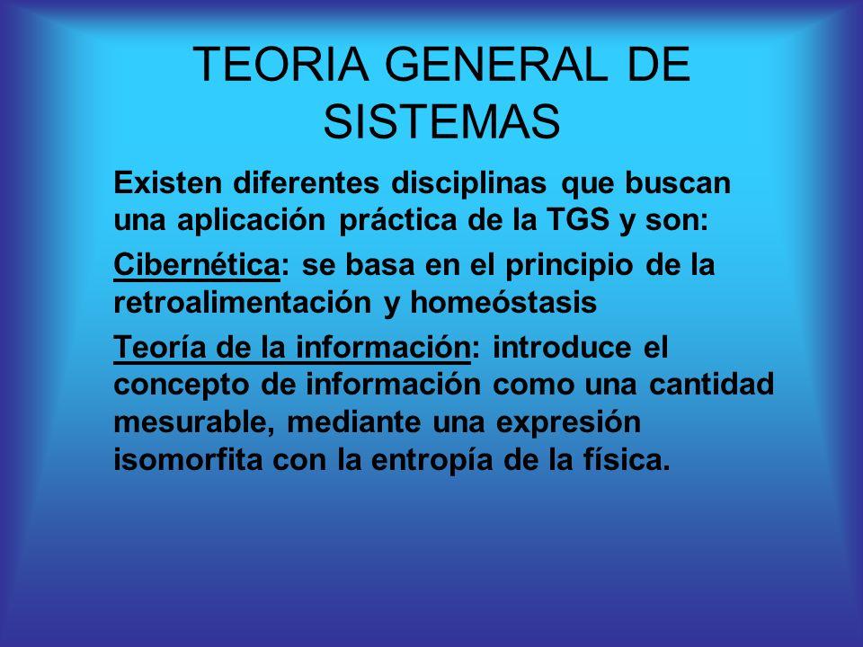 Existen diferentes disciplinas que buscan una aplicación práctica de la TGS y son: Cibernética: se basa en el principio de la retroalimentación y home