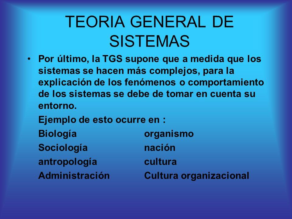Por último, la TGS supone que a medida que los sistemas se hacen más complejos, para la explicación de los fenómenos o comportamiento de los sistemas