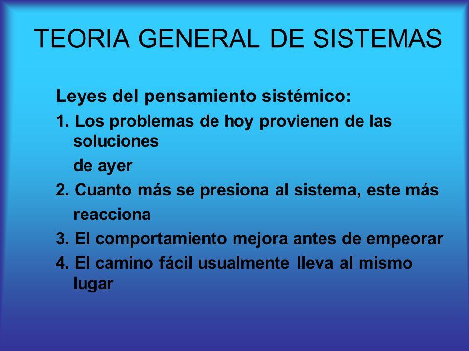 Leyes del pensamiento sistémico : 1. Los problemas de hoy provienen de las soluciones de ayer 2. Cuanto más se presiona al sistema, este más reacciona