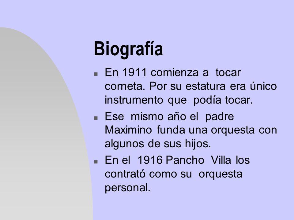 Biografía n En 1911 comienza a tocar corneta. Por su estatura era único instrumento que podía tocar. n Ese mismo año el padre Maximino funda una orque
