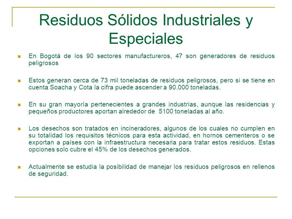 Residuos Sólidos Industriales y Especiales En Bogotá de los 90 sectores manufactureros, 47 son generadores de residuos peligrosos Estos generan cerca