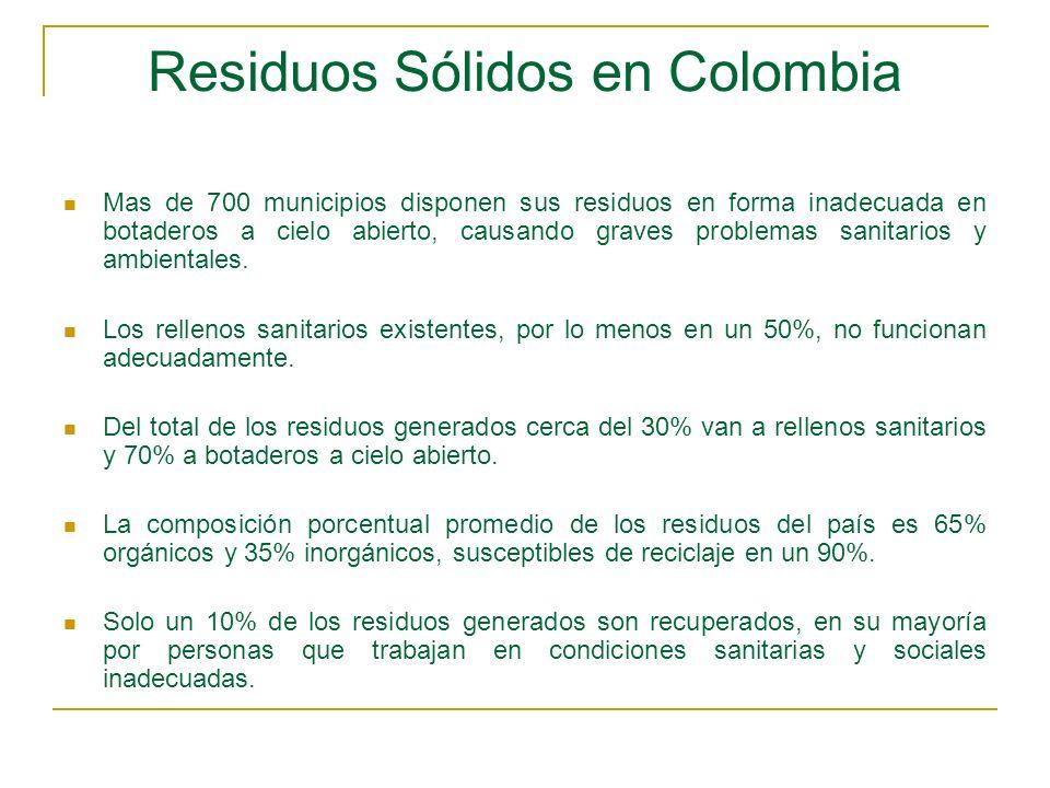 Residuos Sólidos en Colombia Mas de 700 municipios disponen sus residuos en forma inadecuada en botaderos a cielo abierto, causando graves problemas s
