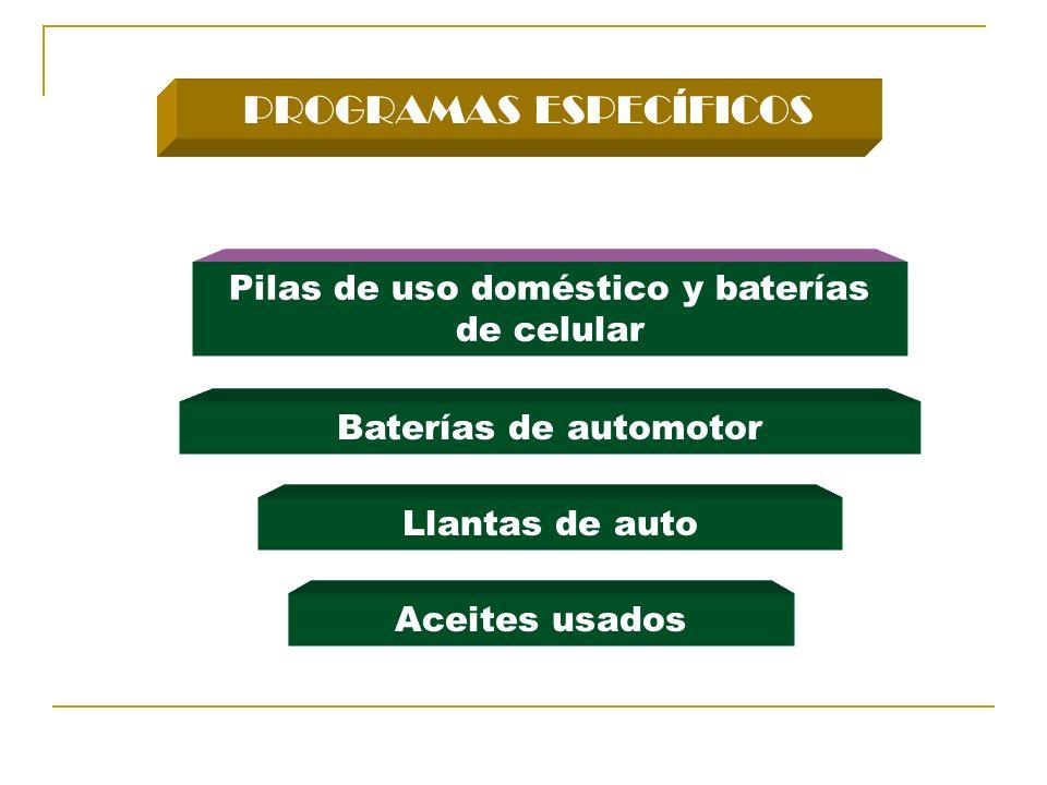 PROGRAMAS ESPECÍFICOS Pilas de uso doméstico y baterías de celular Llantas de auto Baterías de automotor Aceites usados