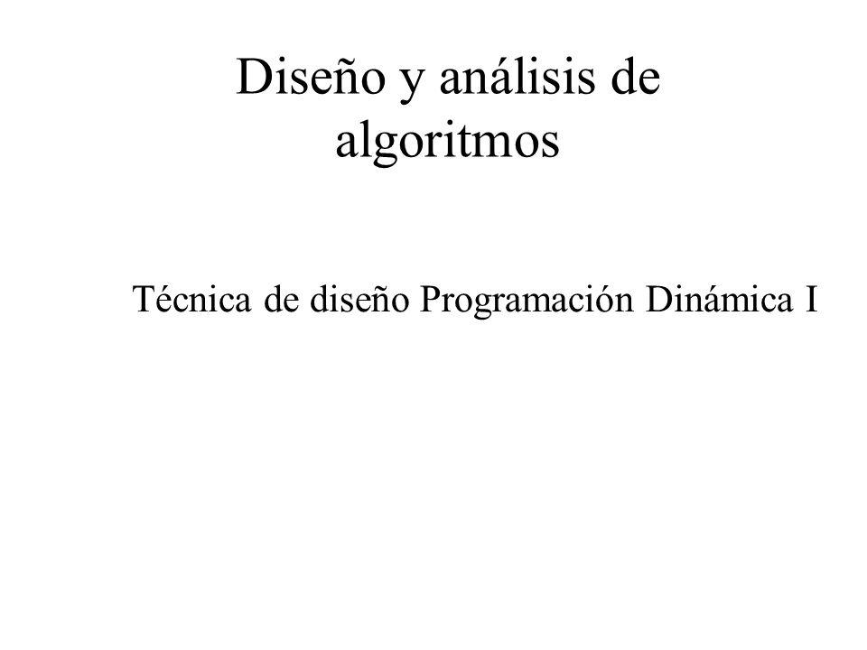 Técnica de diseño Programación Dinámica Problema de la mochila valores 0-1 Solución en tiempo razonable Para evitar la repetición de cálculos, las soluciones de los subproblemas se deben almacenar en una tabla.