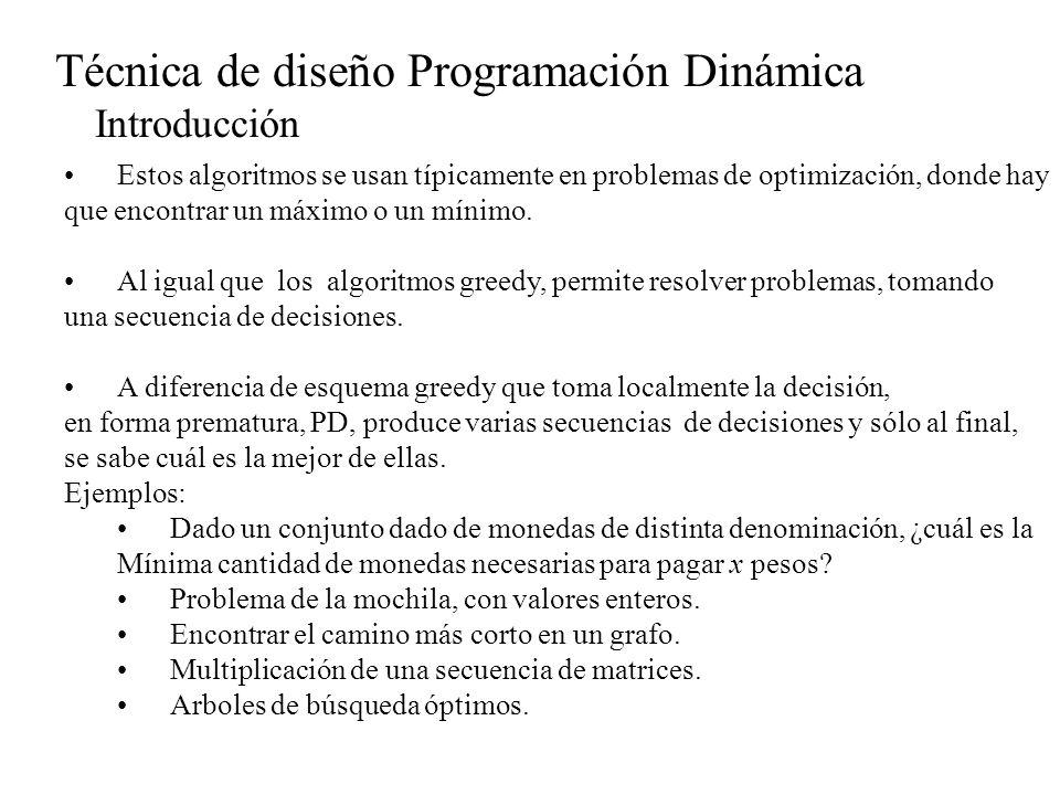Técnica de diseño Programación Dinámica Introducción Es similar al esquema dividir y conquistar en cuanto a que PD determina la solución óptima de un problema de n variables descomponiéndola en n etapas o subproblemas.