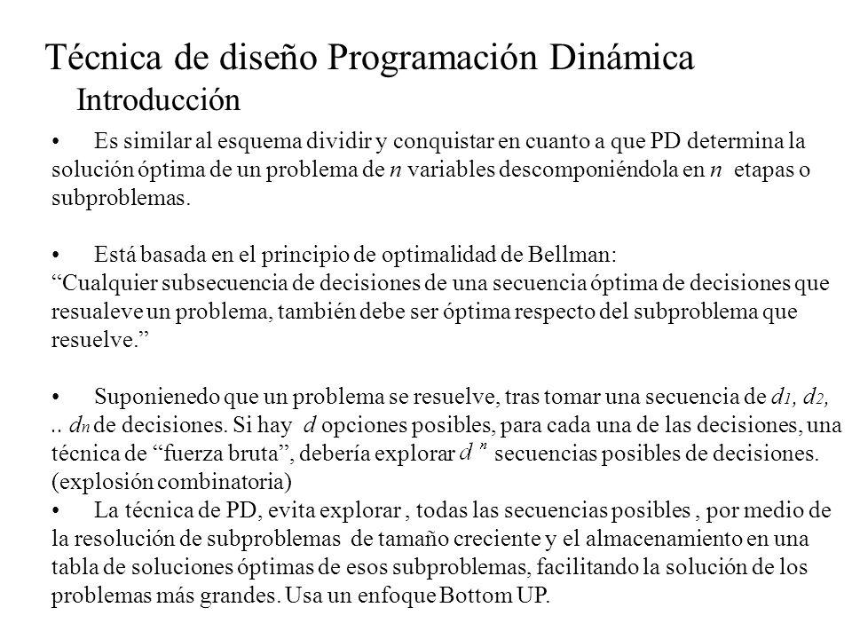 Técnica de diseño Programación Dinámica Introducción Es similar al esquema dividir y conquistar en cuanto a que PD determina la solución óptima de un