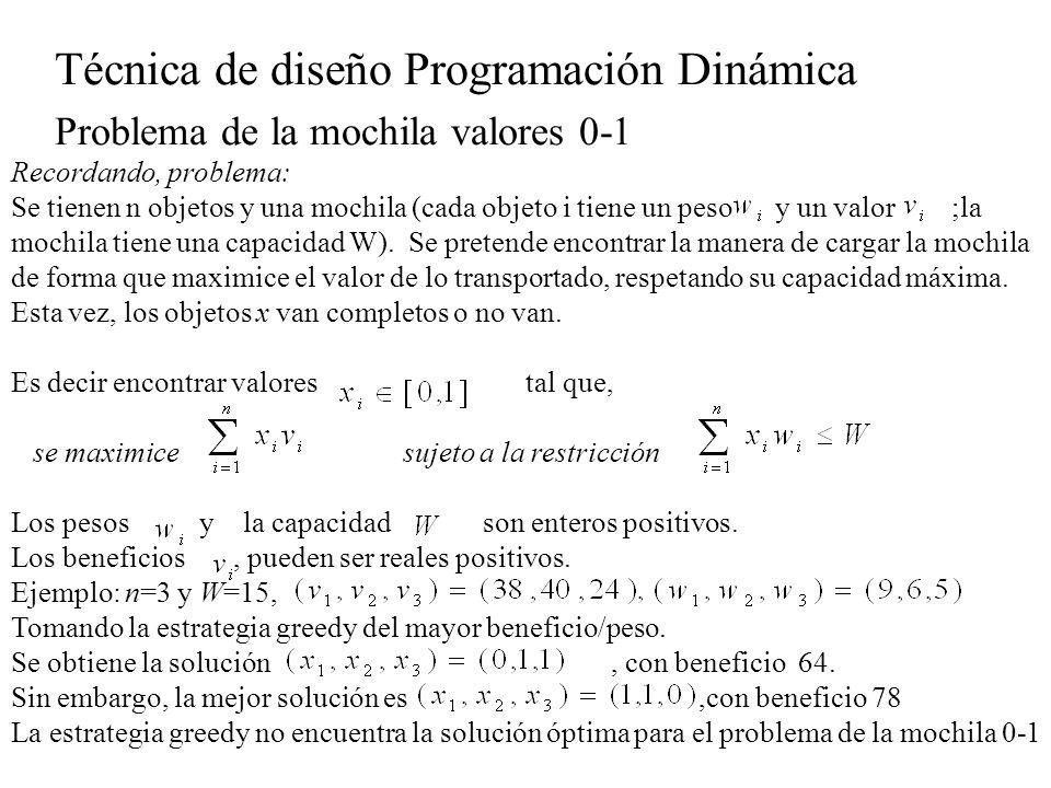Técnica de diseño Programación Dinámica Problema de la mochila valores 0-1 El nuevo problema es mochila (k,l,W) Encontrar valores tal que, se maximice sujeto a la restricción con El problema de la mochila 0-1 es mochila(1,n,W) Principio de optimalidad: Sea una secuencia óptima de valores 0-1 para Si entonces forman una secuencia óptima para el problema mochila(2,n,W).