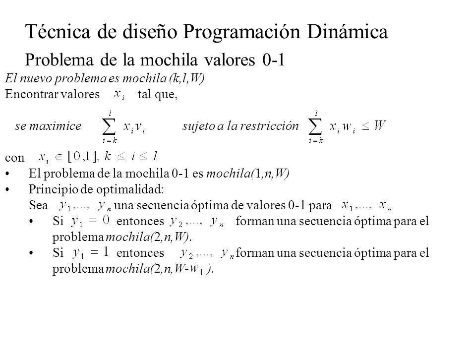 Técnica de diseño Programación Dinámica Problema de la mochila valores 0-1 Principio de optimalidad, lo mismo se cumple: Si una secuencia óptima del problema mochila(1,n,W), entonces para todo : Si es la secuencia óptima de Si es la secuencia óptima de