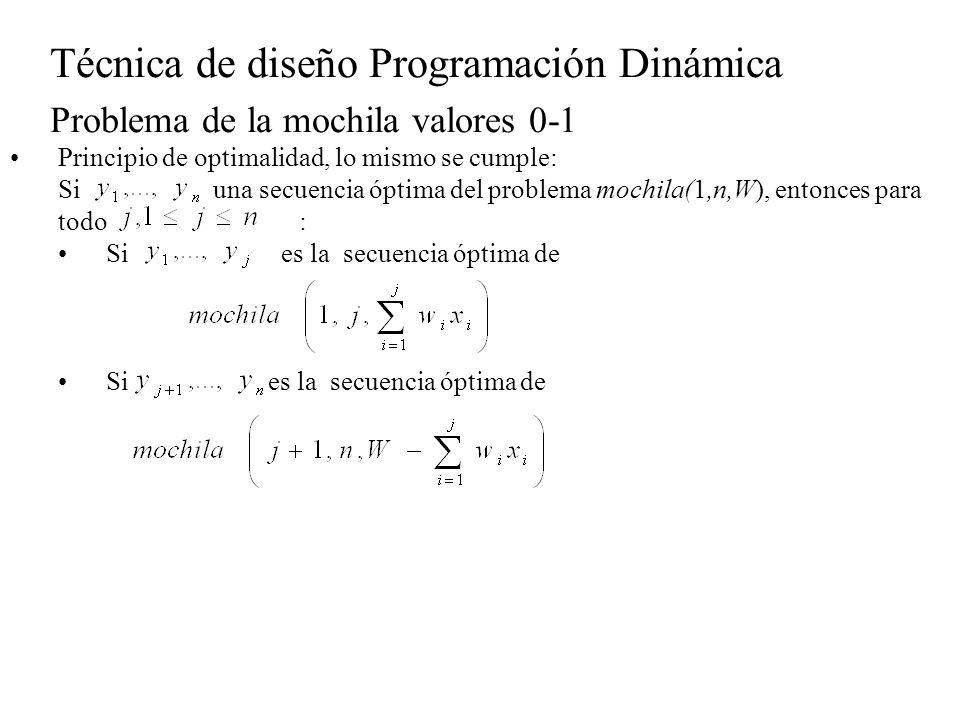 Técnica de diseño Programación Dinámica Problema costo mínimo de caminos en un grafo multietapa Implementación : Funcion multietapa(G[1..n,1..n];n,k:entero):[1..k] {salida es el camino de k etapas} {Los nodos etán numerados, de manera asecendente en relación a cada etapa El primer índice de C* y D que identifican la etapa se han suprimido} Variables C arreglo [1..n] real {costos};P arrgelo [1..k] entero;D arreglo [1..n] entero;j,r:entero Inicio C[n]:=0.0; {calculo de C* y D} Para j:= n-1 descendiendo hasta 1 hacer r:= nodo tal que arco (j,r) exista y G[j,r]+ C[r] es mínimo; C[j]:= G[j,r]+ C[r] C[j]:= r FIN-para P[1]=1;P[k]:=n; {construcción del camino} Para c:= 2 a k-1 hacer P[j]:=D[P[j-1]] FIN-para devuelve P fin