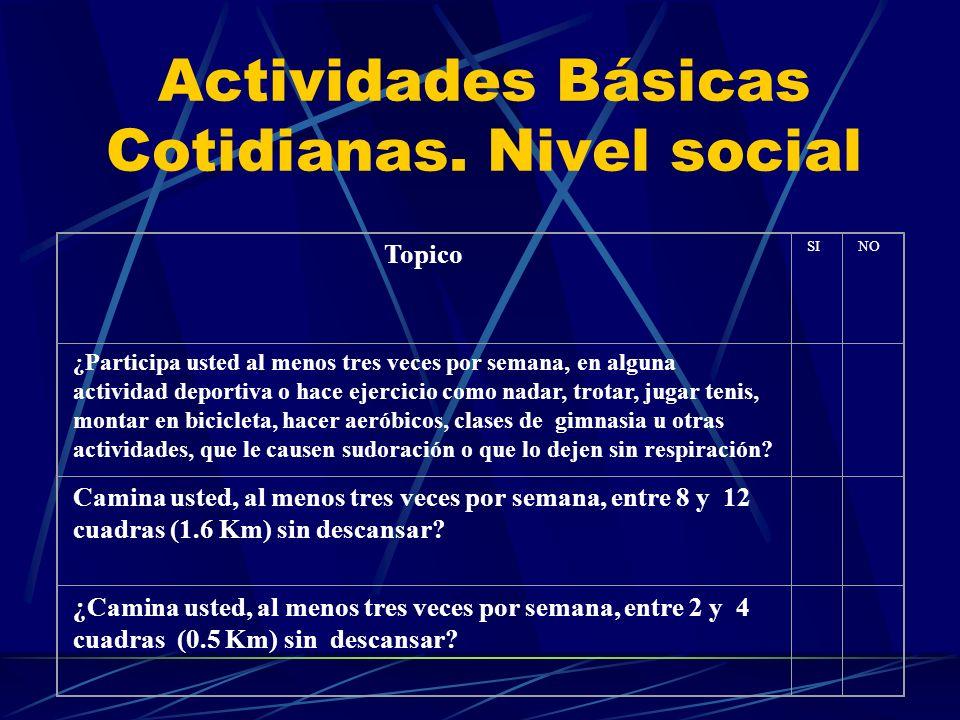 Actividades Básicas Cotidianas. Nivel social Topico SINO ¿Participa usted al menos tres veces por semana, en alguna actividad deportiva o hace ejercic