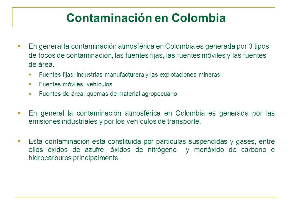 Contaminación en Colombia En general la contaminación atmosférica en Colombia es generada por 3 tipos de focos de contaminación, las fuentes fijas, la
