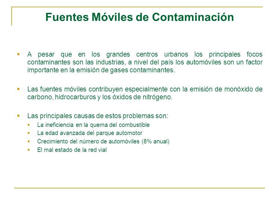 Fuentes Móviles de Contaminación A pesar que en los grandes centros urbanos los principales focos contaminantes son las industrias, a nivel del país l