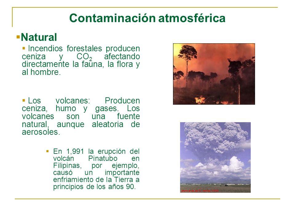 Contaminación atmosférica Natural Incendios forestales producen ceniza y CO 2 afectando directamente la fauna, la flora y al hombre. Los volcanes: Pro