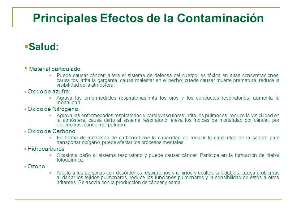 Principales Efectos de la Contaminación Salud: Material particulado: Puede causar cáncer; altera el sistema de defensa del cuerpo; es tóxica en altas