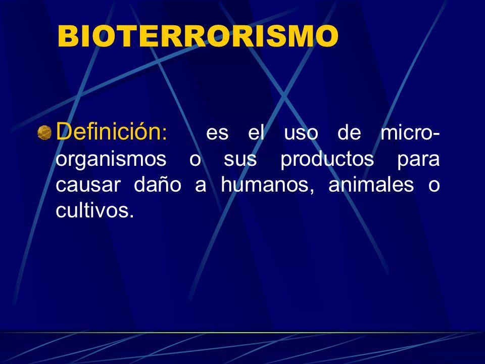 BIOTERRORISMO ¿por qué nos interesa el bioterrorismo? Profesionales de salud son los que deben responder en primera instancia a un ataque bioterrorist
