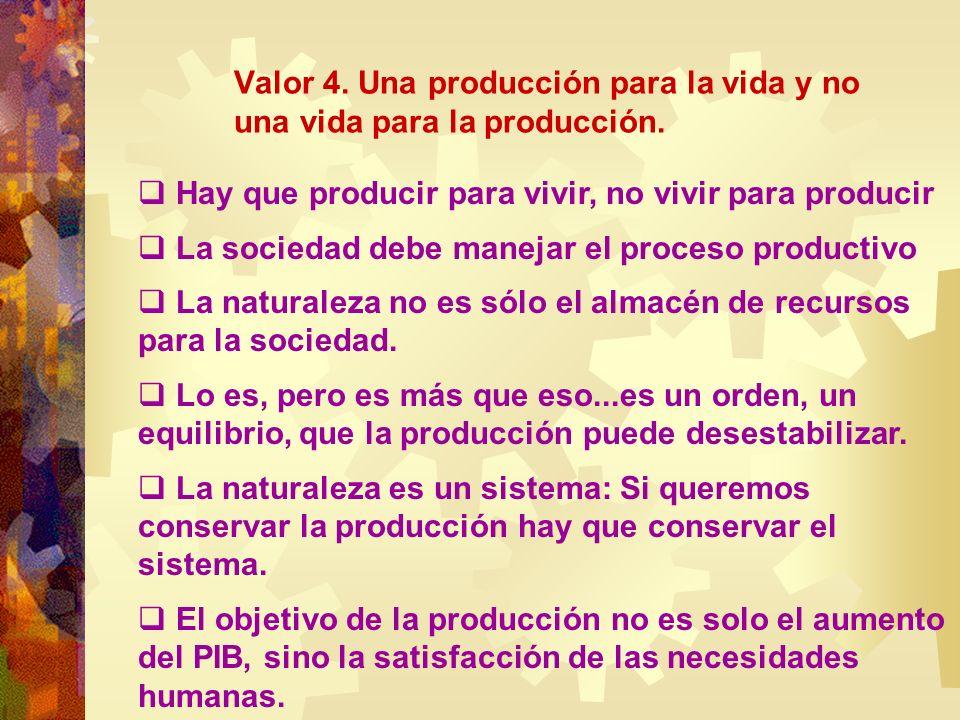 Valor 4. Una producción para la vida y no una vida para la producción. Hay que producir para vivir, no vivir para producir La sociedad debe manejar el