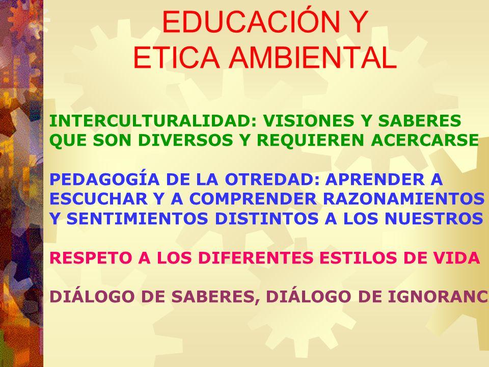 EDUCACIÓN Y ETICA AMBIENTAL INTERCULTURALIDAD: VISIONES Y SABERES QUE SON DIVERSOS Y REQUIEREN ACERCARSE PEDAGOGÍA DE LA OTREDAD: APRENDER A ESCUCHAR
