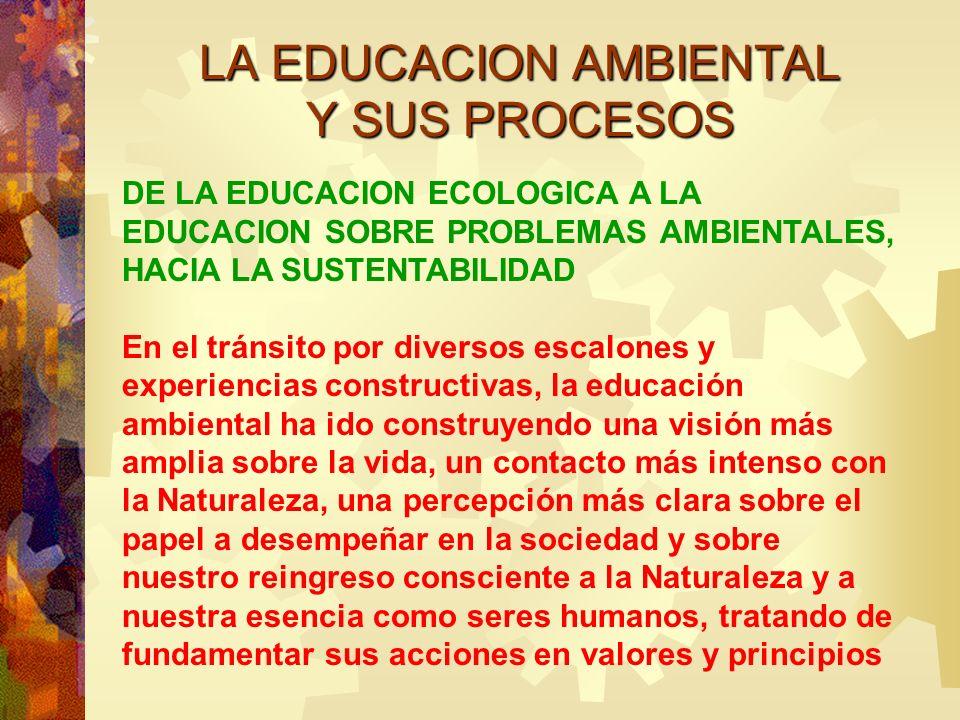 LA EDUCACION AMBIENTAL Y SUS PROCESOS DE LA EDUCACION ECOLOGICA A LA EDUCACION SOBRE PROBLEMAS AMBIENTALES, HACIA LA SUSTENTABILIDAD En el tránsito po
