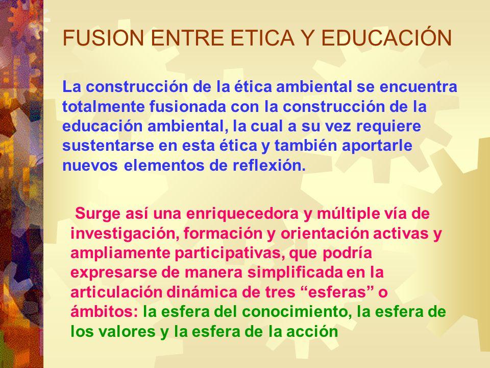 La construcción de la ética ambiental se encuentra totalmente fusionada con la construcción de la educación ambiental, la cual a su vez requiere suste
