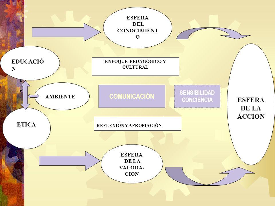 EDUCACIÓ N ETICA AMBIENTE ESFERA DEL CONOCIMIENT O ESFERA DE LA VALORA- CION ESFERA DE LA ACCIÓN ENFOQUE PEDAGÓGICO Y CULTURAL REFLEXIÓN Y APROPIACIÓN