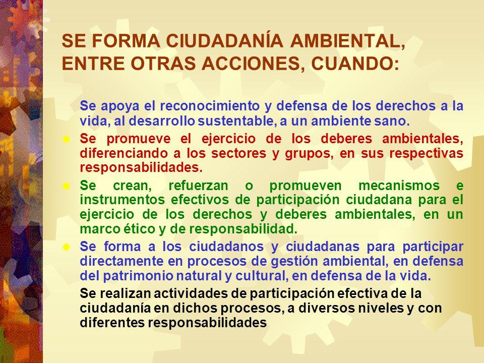 SE FORMA CIUDADANÍA AMBIENTAL, ENTRE OTRAS ACCIONES, CUANDO: Se apoya el reconocimiento y defensa de los derechos a la vida, al desarrollo sustentable