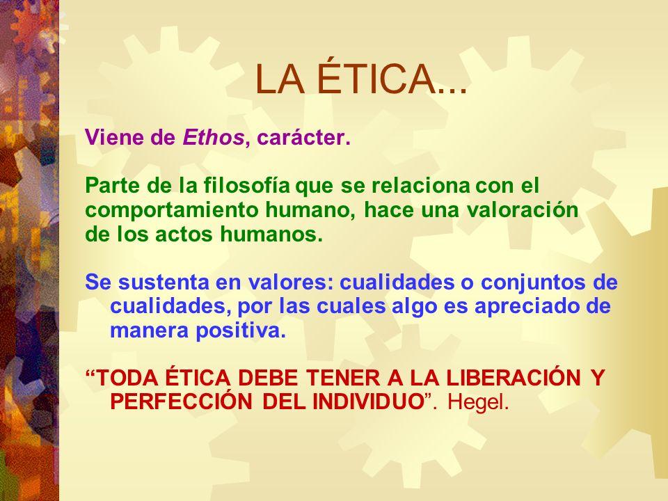 LA ÉTICA... Viene de Ethos, carácter. Parte de la filosofía que se relaciona con el comportamiento humano, hace una valoración de los actos humanos. S