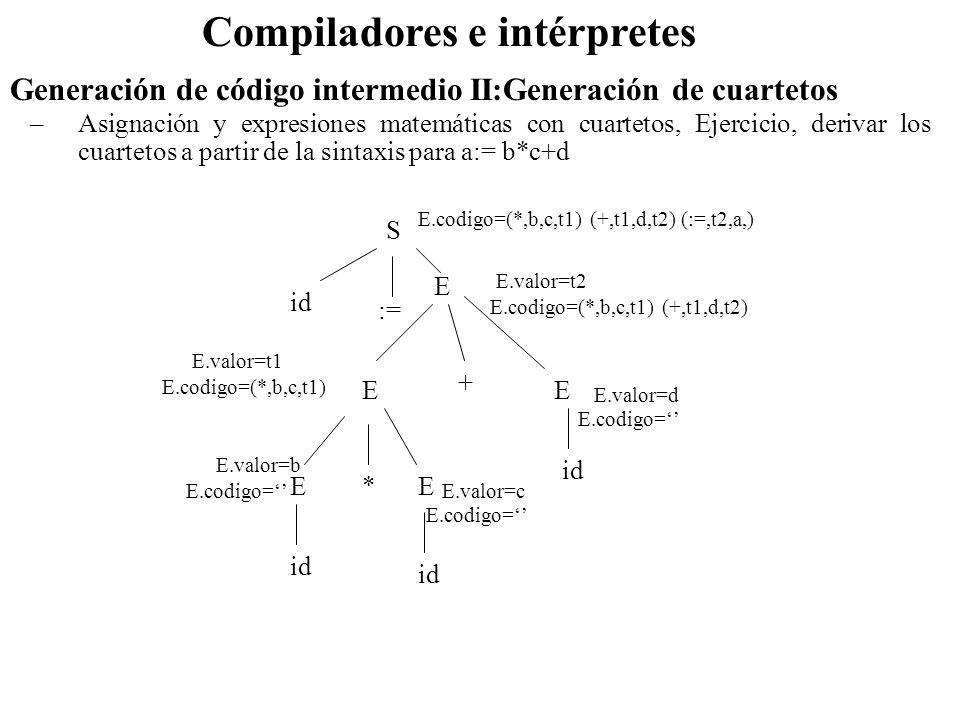 Compiladores e intérpretes Generación de código intermedio II:Generación de cuartetos –Asignación y expresiones matemáticas con cuartetos, Ejercicio,