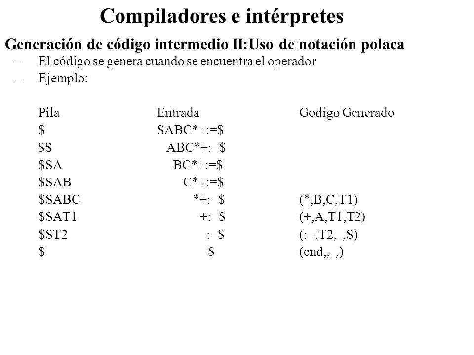 Generación de código intermedio II:Uso de notación polaca Compiladores e intérpretes –El código se genera cuando se encuentra el operador –Ejemplo: Pi