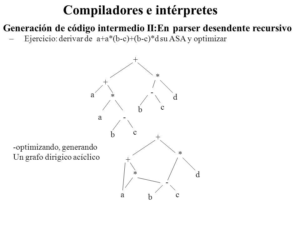 Compiladores e intérpretes –Ejercicio: derivar de a+a*(b-c)+(b-c)*d su ASA y optimizar Generación de código intermedio II:En parser desendente recursi