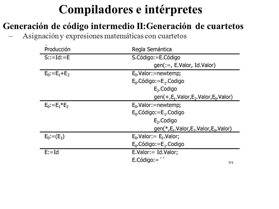 Compiladores e intérpretes –Asignación y expresiones matemáticas con cuartetos Generación de código intermedio II:Generación de cuartetos