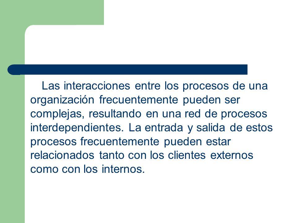 Las interacciones entre los procesos de una organización frecuentemente pueden ser complejas, resultando en una red de procesos interdependientes. La