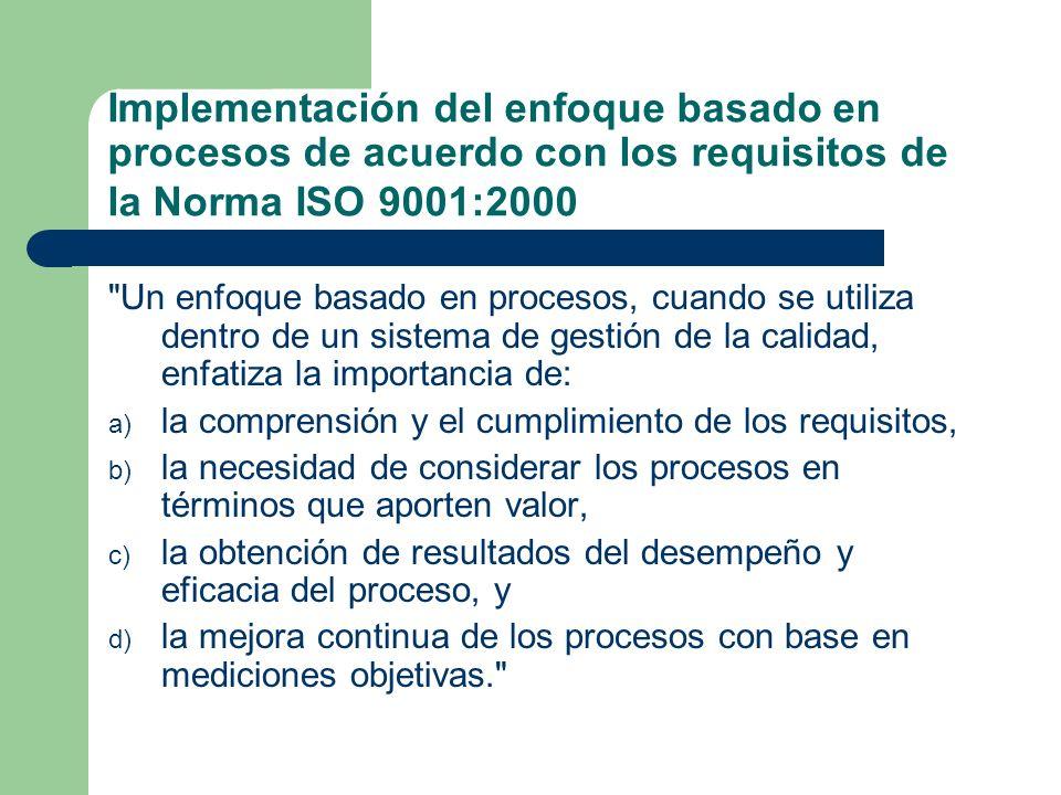 Dentro del contexto de la Norma ISO 9001:2000, el enfoque basado en procesos incluye los procesos necesarios para la realización del producto, y los otros procesos necesarios para la implementación eficaz del sistema de gestión de la calidad, tales como el proceso de auditoría interna, el proceso de revisión por la dirección, el proceso de análisis de datos y el proceso de gestión de recursos, entre otros.