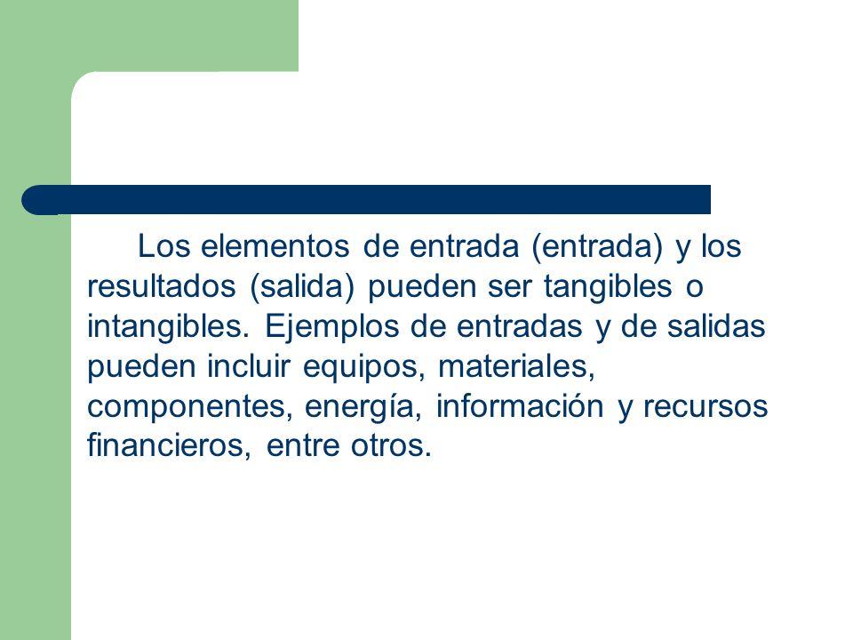 Los elementos de entrada (entrada) y los resultados (salida) pueden ser tangibles o intangibles. Ejemplos de entradas y de salidas pueden incluir equi