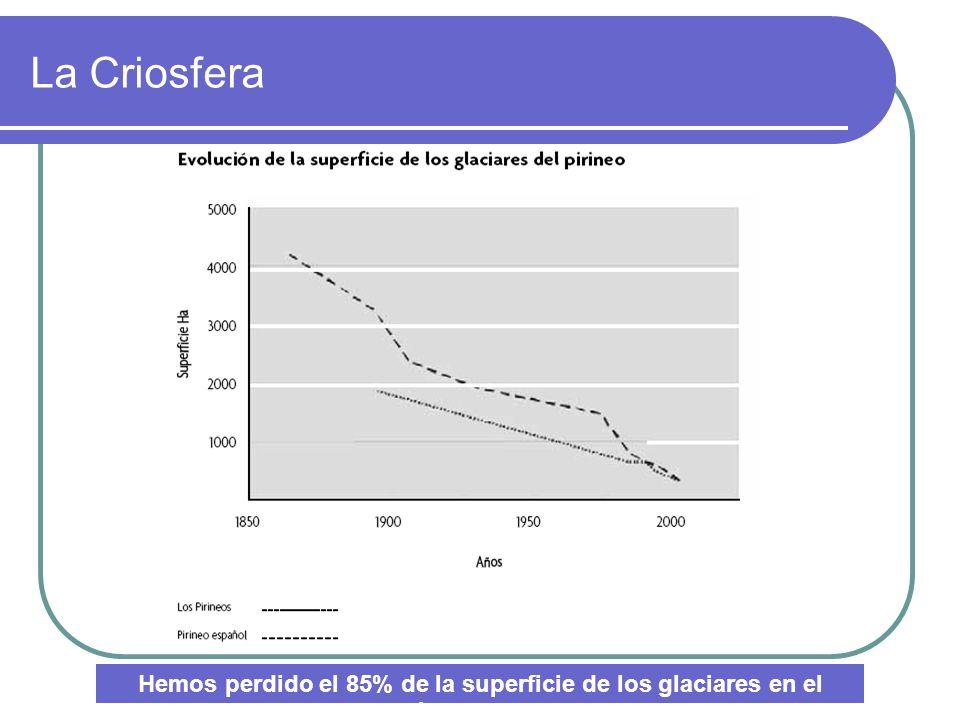 La Criosfera Hemos perdido el 85% de la superficie de los glaciares en el último siglo