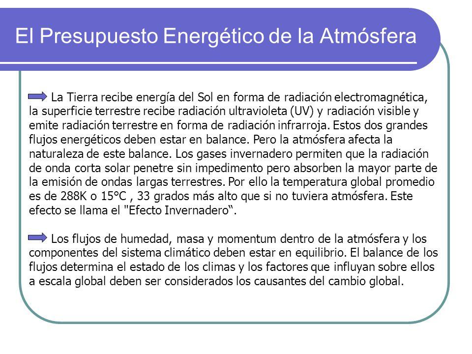 El Presupuesto Energético de la Atmósfera La Tierra recibe energía del Sol en forma de radiación electromagnética, la superficie terrestre recibe radi