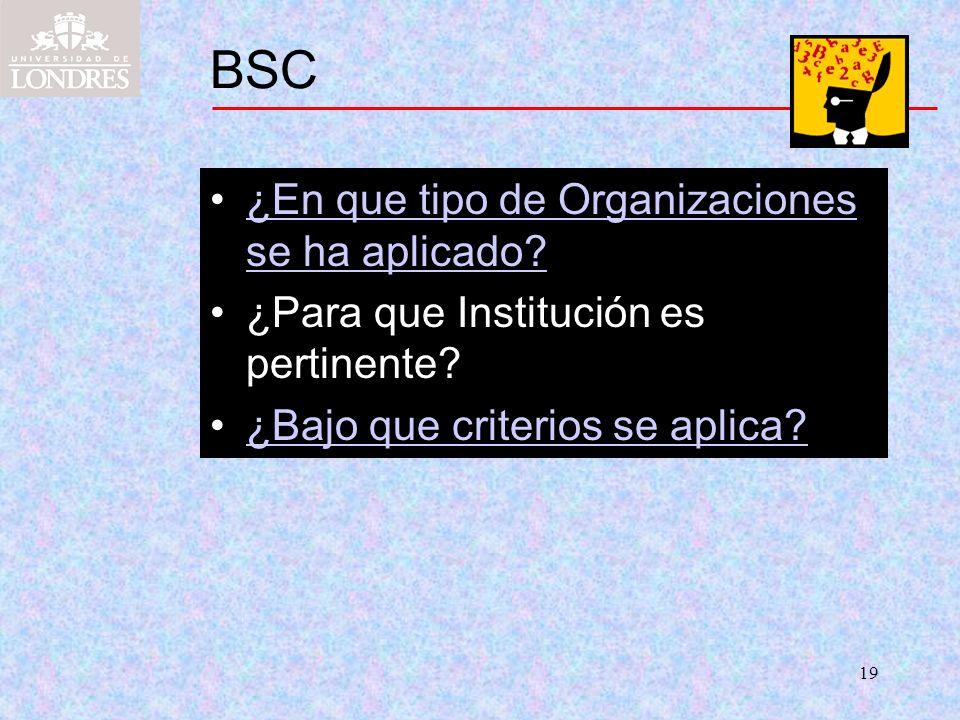 19 BSC ¿En que tipo de Organizaciones se ha aplicado?¿En que tipo de Organizaciones se ha aplicado? ¿Para que Institución es pertinente? ¿Bajo que cri