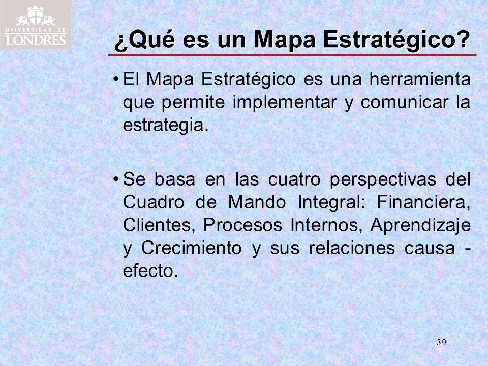 39 ¿Qué es un Mapa Estratégico? El Mapa Estratégico es una herramienta que permite implementar y comunicar la estrategia. Se basa en las cuatro perspe