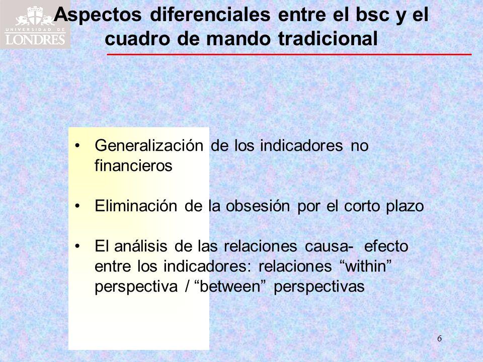 6 Aspectos diferenciales entre el bsc y el cuadro de mando tradicional Generalización de los indicadores no financieros Eliminación de la obsesión por